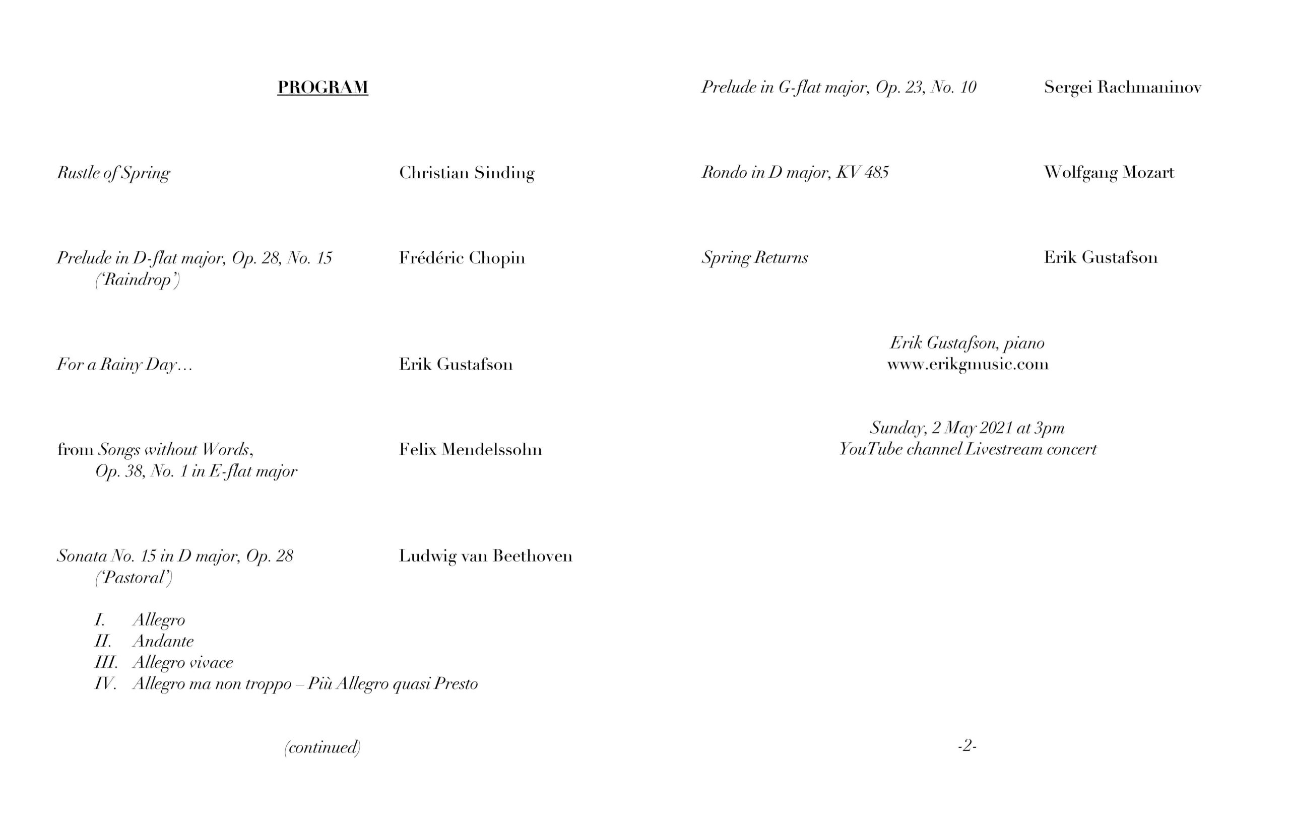 Concert Program for May 2
