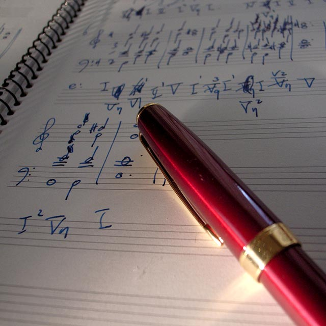 Sheet Music notations with pen